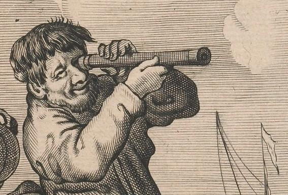 Een spotprent uit 1635, waarop een soortgelijk kijkertje te zien is. Afbeelding: Museum Boerhaave.