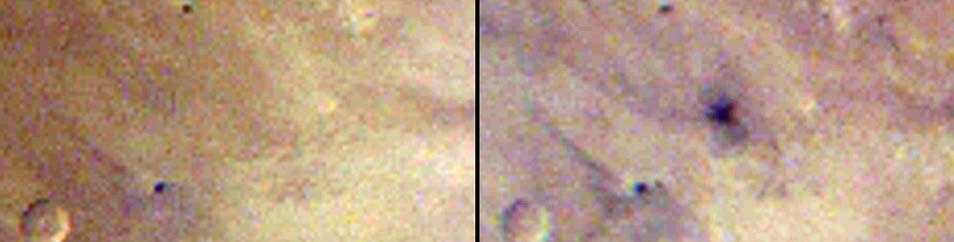 Links een foto gemaakt op 27 maart 2012, rechts een foto gemaakt op 28 maart 2012. Afbeeldingen: NASA / JPL-Caltech / MSSS.