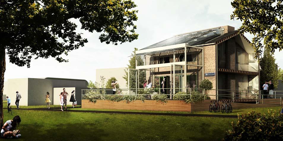 Het huis zoals dat straks in Frankrijk te bewonderen is. Afbeelding: Prêt-à-Loger / TU Delft.