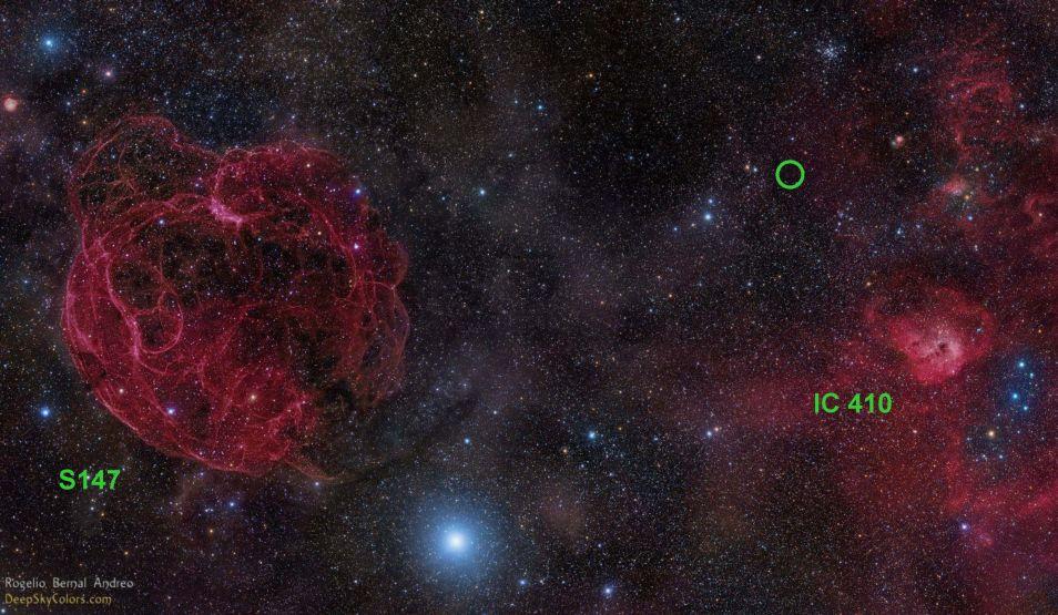 De radioflits FRB 121102 is op 2 november 2012 opgevangen. De flits kwam uit de richting van de cirkel.
