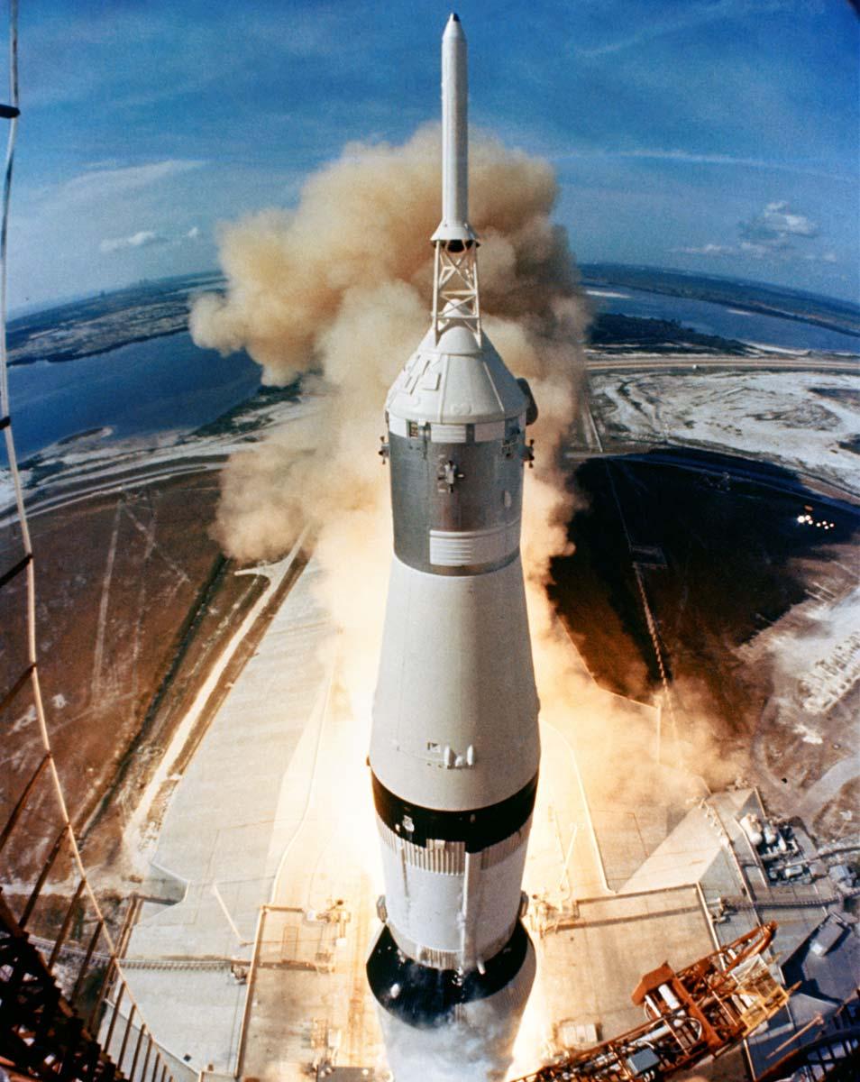 De lancering van Apollo 11. Afbeelding: NASA.