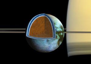 Onder de ijskorst van Titan bevindt zich een zoute oceaan.