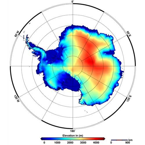 De nieuwe hoogtekaart van Antarctica. Afbeelding: Helm et al., The Cryosphere, 2014.