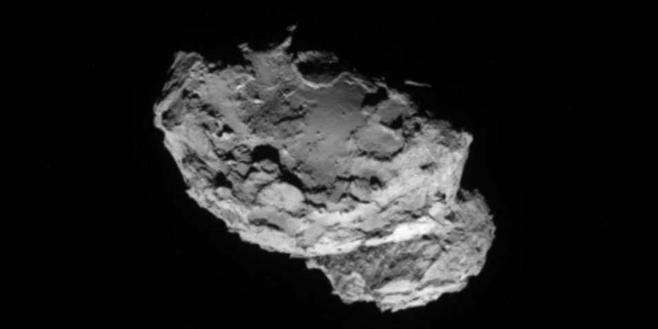 Deze foto twitterde ESA gisterenmiddag. Rosetta maakte deze foto van de komeet toen de afstand tussen de twee zo'n 234 kilometer was. Afbeelding: ESA.
