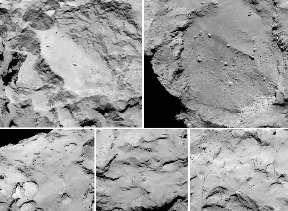 De vijf mogelijke landingsplekken. Afbeeldingen: ESA / Rosetta / MPS voor het OSIRIS  Team MPS / UPD / LAM / IAA / SSO / INTA / UPM / DASP / IDA.