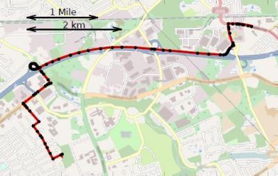 De route van deze chauffeur werd door de wetenschappers voorspeld. Zie de zwarte stippen op de kaart. Achteraf blijkt dat deze route inderdaad is afgelegd (rood).