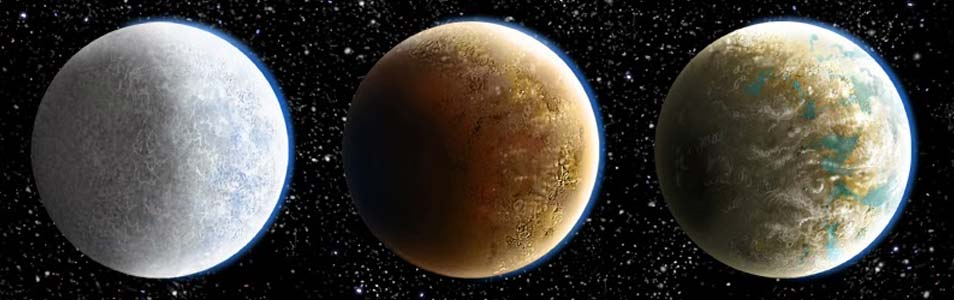Deze afbeelding laat zien hoe Kepler 186f eruit zou zien als deze voornamelijk uit (v.l.n.r.) ijs, ijzer en steen zou bestaan. Afbeelding: Danielle Futselaar / SETI Institute / NASA AMES.