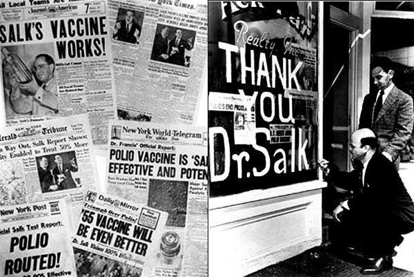 De vreugde en dankbaarheid is groot als het vaccin van Salk blijkt te werken.  Afbeeldingen: via Wikimedia Commons.