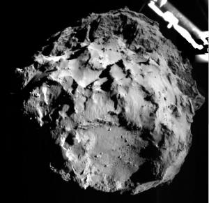 De foto die Philae tijdens de afdaling maakte. Afbeelding: ESA.