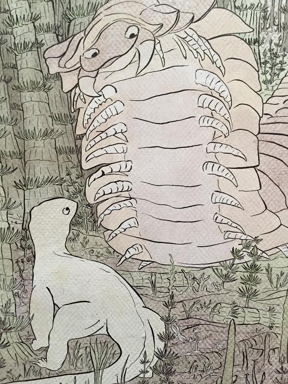 De prachtige tekeningen in het boek illustreren hoe onze voorouders leefden en met welke vijanden ze te maken kregen.