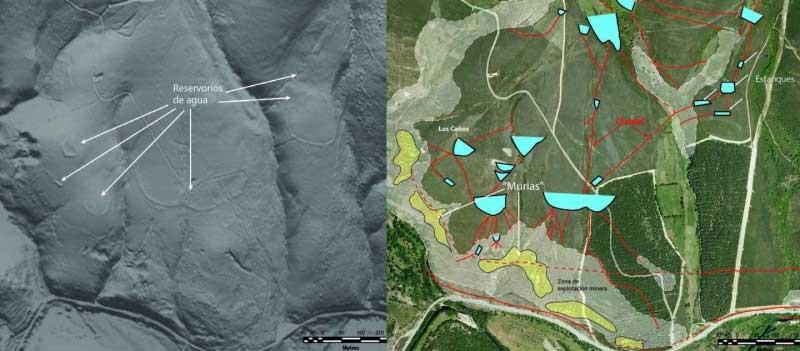 Op basis van de door LiDAR gegenereerde gegevens (links) kunnen de onderzoekers de onder vegetatie schuilgaande goudmijnen en waterwerken op een kaart (rechts) aanwijzen.