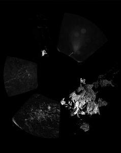 Een panoramafoto van de landingsplaats van Philae. Extreem onherbergzaam!