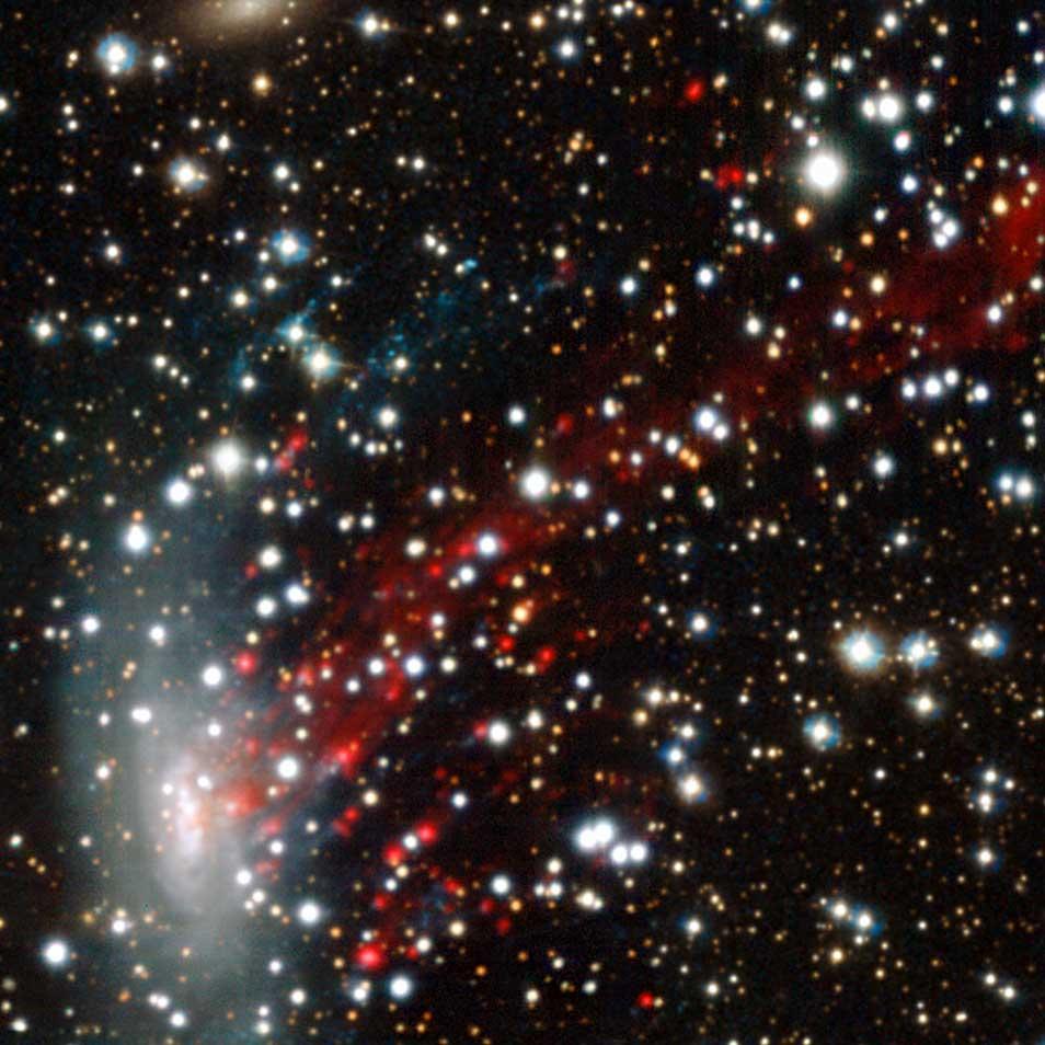 Deze foto maakte MUSE van het 'leeggewaaide' sterrenstelsel 137-001. Afbeelding: ESO / M. Fumagalli.
