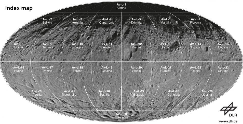 Dit is de normale kaart van Vesta en toont het oppervlak van de planetoïde.