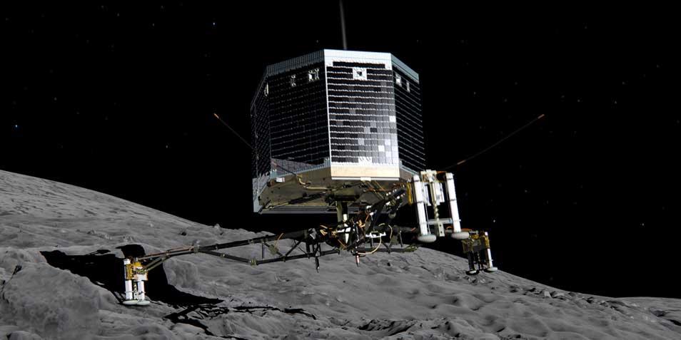 Een artistieke impressie van Philae op het oppervlak van de komeet. Afbeelding: ESA.
