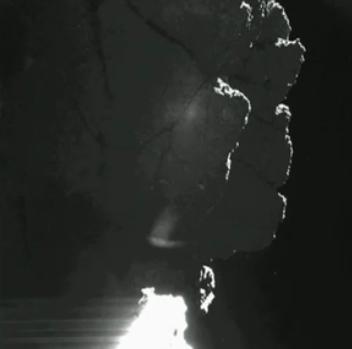 Op deze foto zien we de klif waarbij de sonde vermoedelijk geland is. Afbeelding: ESA.