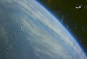 Het uitzicht vanuit de Orion-capsule.