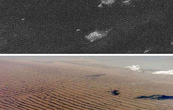 Duintjes op Titan. Afbeelding: NASA.
