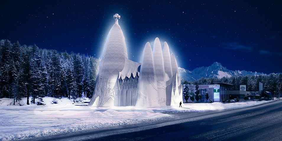 's Avonds zal de ijskoepel van binnenuit verlicht worden. Hierdoor lijkt deze te gloeien. Afbeelding: Structuralice.com.