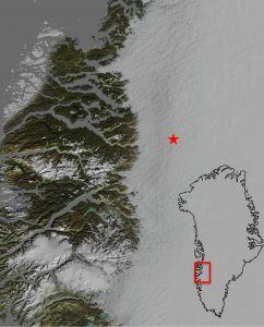 De positie van het twee kilometer brede ondergrondse meer.