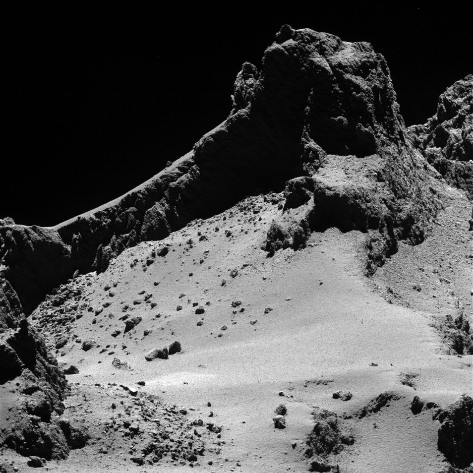 Is het geen plaatje? Deze foto maakte Rosetta van ongeveer acht kilometer afstand van de komeet. Afbeelding: ESA / Rosetta / MPS for OSIRIS Team MPS / UPD / LAM / IAA / SSO / INTA / UPM / DASP / IDA.
