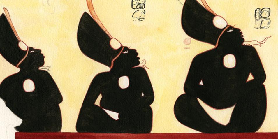 De drie vrijwel identieke individuen op de andere muurschildering. Afbeelding: Heather Hurst / Antiquity.