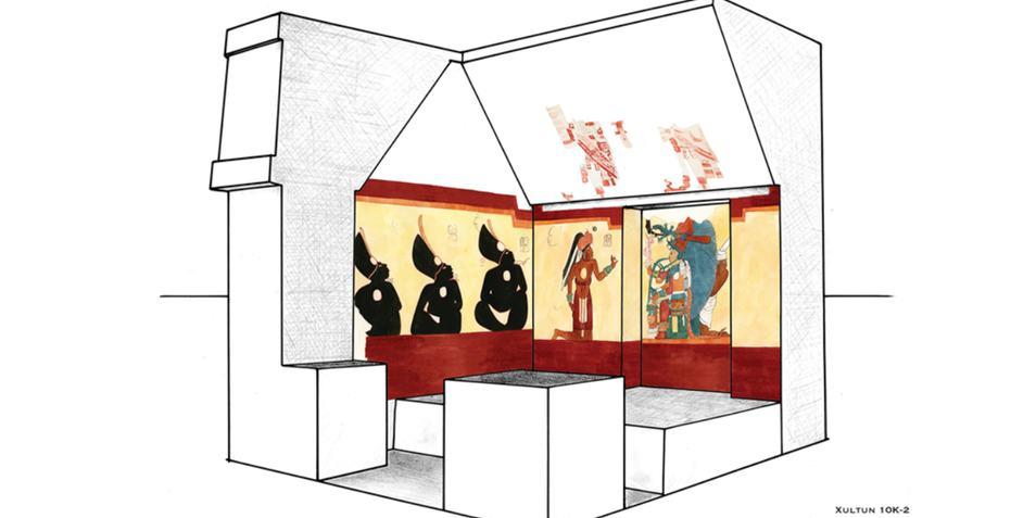 Een tekening van de kamer waarin de muurschilderingen zijn aangetroffen. Afbeelding: Heather Hurst / Antiquity.