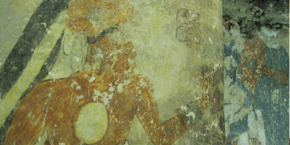 Een foto van een deel van de muurschildering die laat zien hoe een individu knielt voor de leider van de stad. Afbeelding: Heather Hurst.