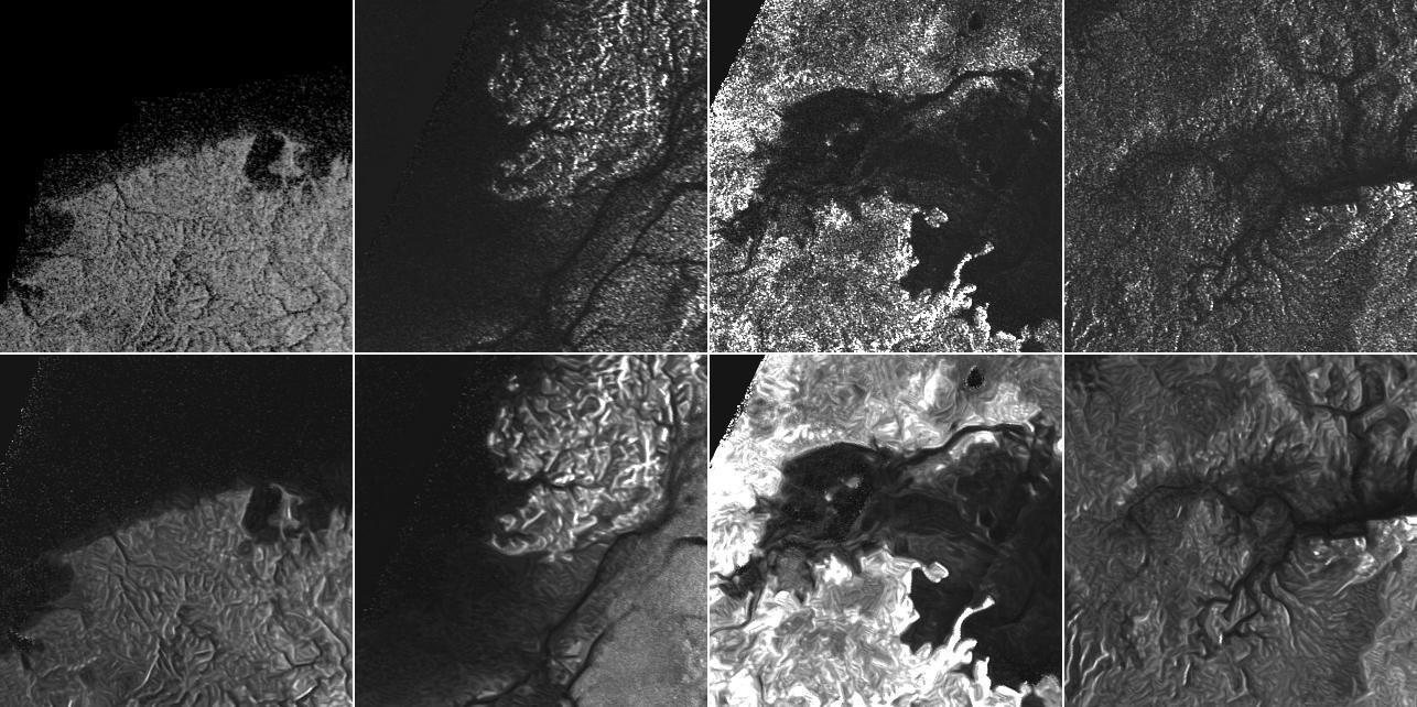 Mét (boven) en zonder (onder) ruis. Afbeelding: NASA / JPL Caltech / ASI.