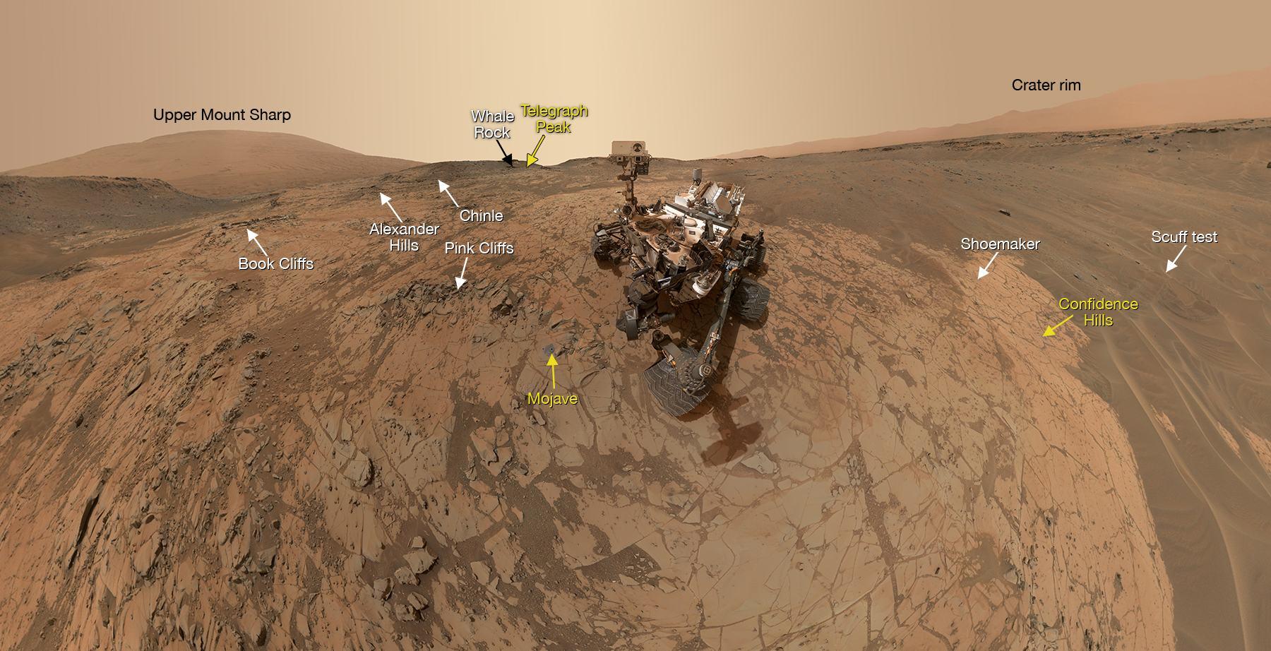 Het zelfportret. Klik voor een vergroting. Afbeelding: NASA / JPL-Caltech / MSSS.