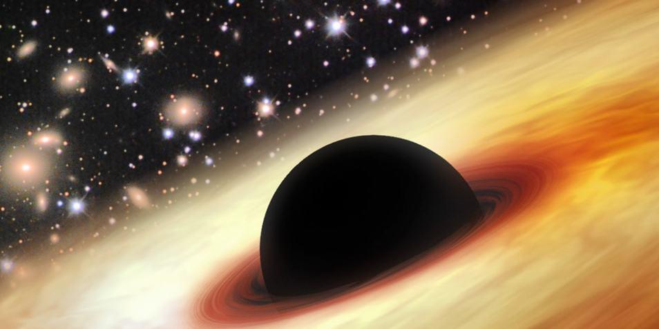 Een quasar met in het hart een zwart gat. Afbeelding: Zhaoyu Li / NASA / JPL-Caltech / Misti Mountain Observatory.