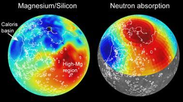 De kaarten laten zien dat Mercurius verschillende gebieden met elk hun eigen chemische samenstelling kent. Afbeelding: Carnegie Science.
