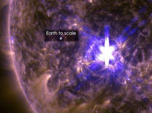 Zo klein is de aarde in vergelijking met de zonnevlam.
