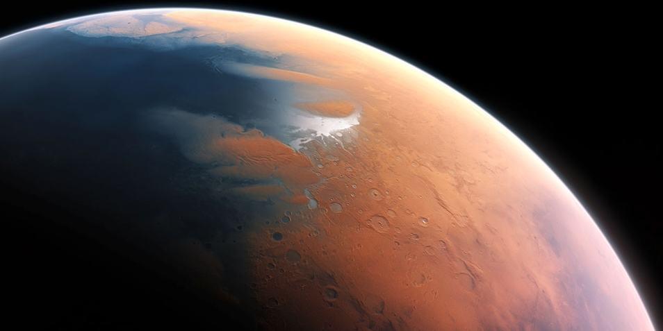 Water op het noordelijk halfrond van Mars. Afbeelding: ESO / M. Kornmesser.