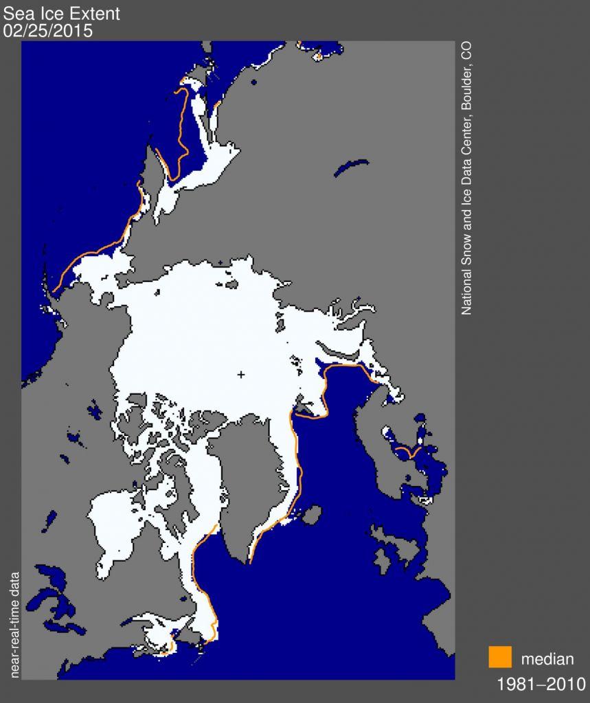 De hoeveelheid zee-ijs op 25 februari. De oranje lijn laat de gemiddelde hoeveelheid zee-ijs tussen 1981 en 2010 zien. Afbeelding: National Snow and Ice Data Center.