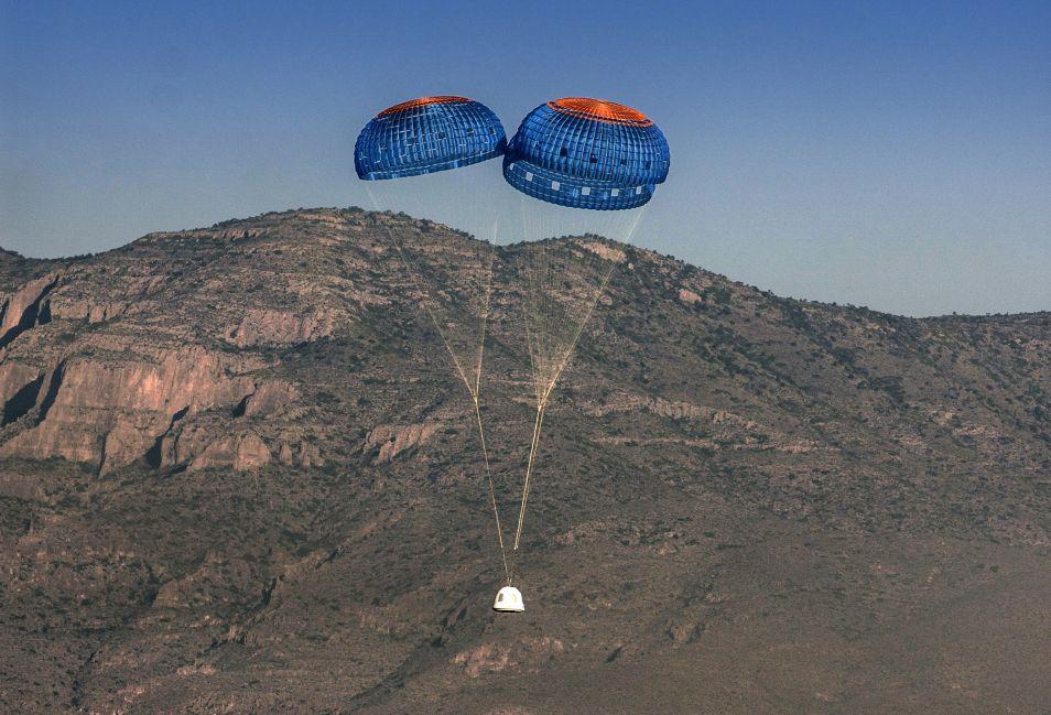 De New Shepard-capsule landt weer veilig op aarde.