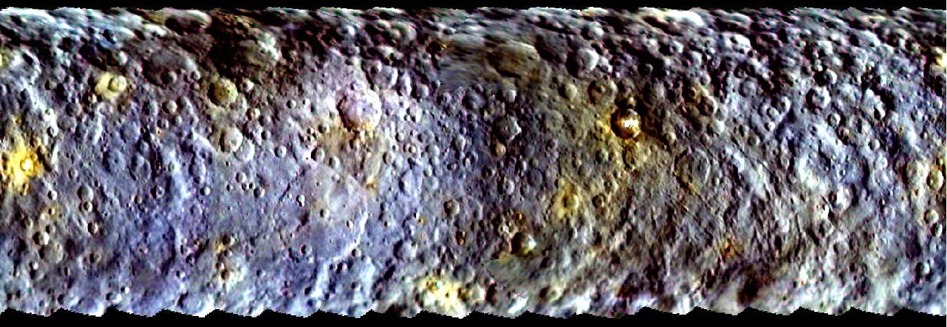 Ceres in kleur. Klik voor een vergroting. Afbeelding: NASA / JPL-Caltech / UCLA / MPS / DLR / IDA.