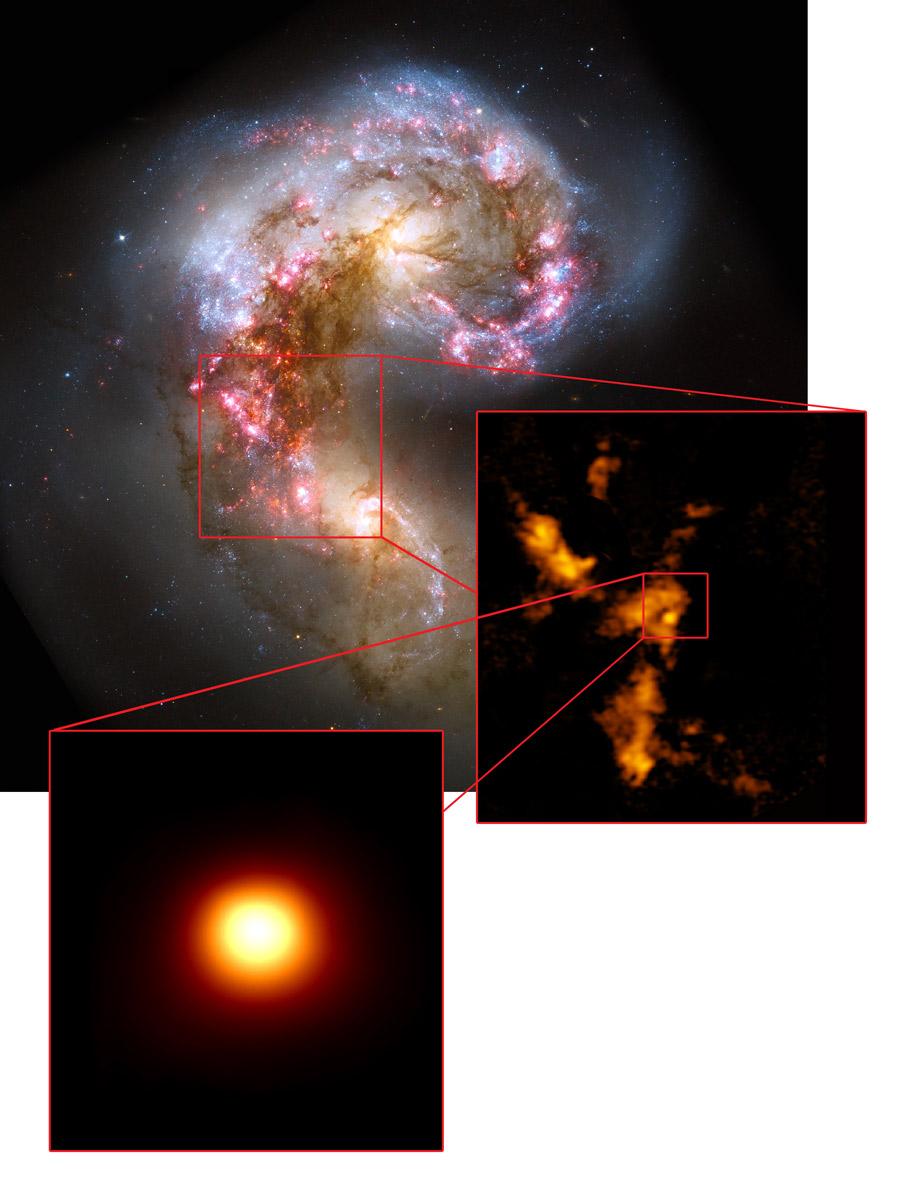 Op de grote afbeelding zie je de Antennestelsels in zichtbaar licht (foto gemaakt door Hubble). De inzet rechts laat een aantal wolken van moleculair gas zien. Eén wolk (inzet links) springt eruit, omdat hierin nog geen sterren te zien zijn. Afbeelding: NASA / ESA Hubble, B. Whitmore (STScI) / K. Johnson, U.Va. / ALMA (NRAO / ESO / NAOJ) / B. Saxton (NRAO / AUI / NSF).