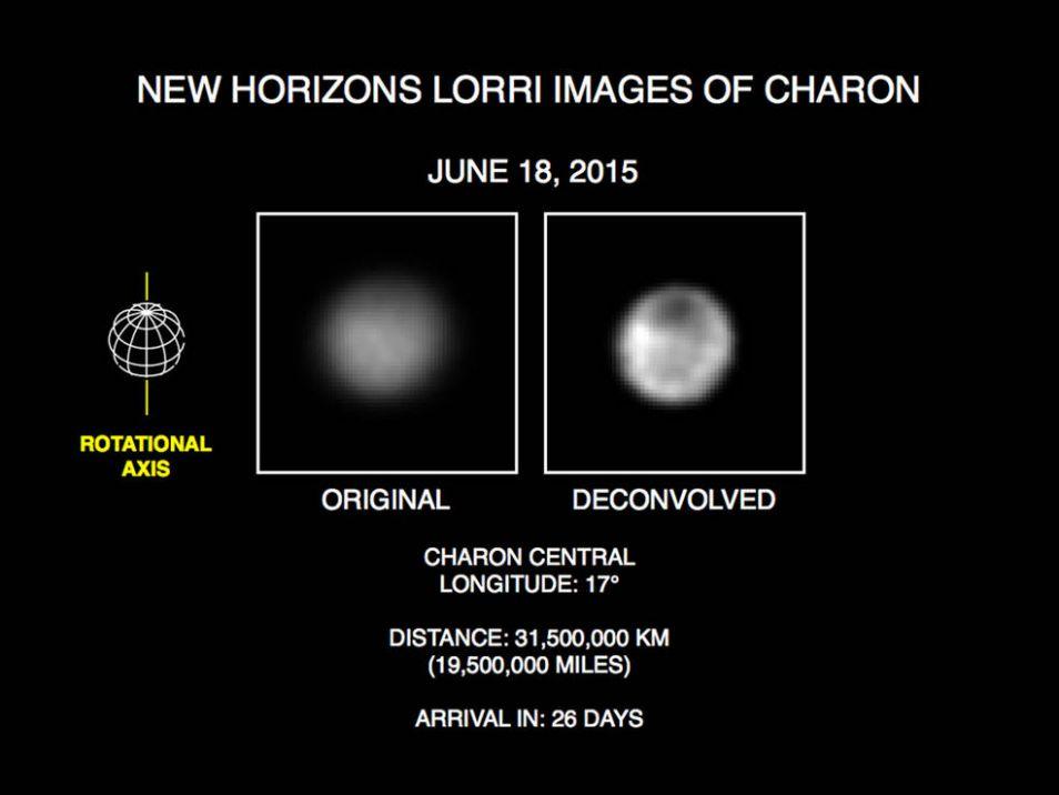 Meest recente foto van Charon. Links de onbewerkte versie, rechts de bewerkte versie.