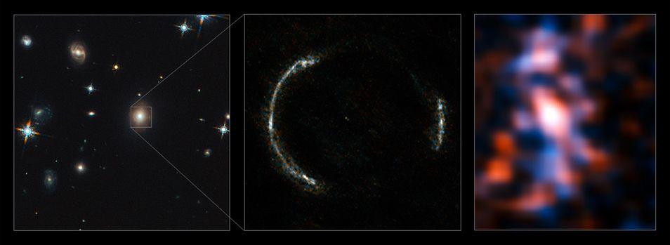 Links een foto van de Hubble-ruimtetelescoop, in het midden de Einsteinring (ALMA) en rechts één van de geobserveerde stervormingsgebieden in deze ring.