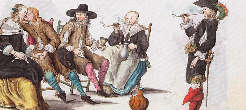 Lang haar, zelfs in bed nog roken, veel drinken en rokkenjagen – dit was het beeld van de jongeren van de vroege 17de eeuw. Hun onmatigheid baarde de oudere generaties zorgen. Tekening van Gesina ter Borch.