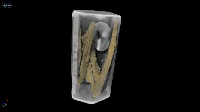 De zilveren doos die op het graf van Archer werd ontdekt. CT-scans onthullen dat er onder meer botten in zitten. Afbeelding: Micro Photonics Inc.