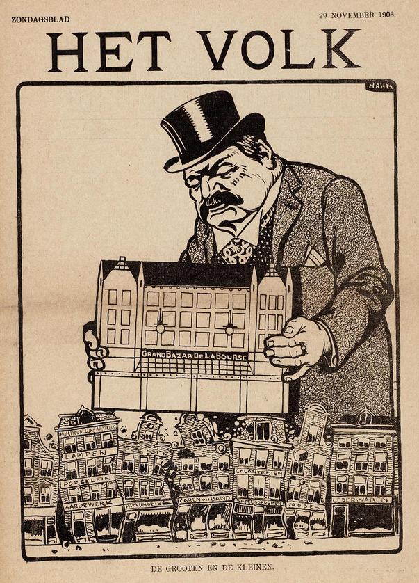 De luxe van de grootwinkelbedrijven leidde in het buitenland tot sociaaleconomisch protest dat al gauw antisemitische trekken kreeg. In Nederland gebeurde dit minder, al was Albert Hahn kritisch over de rijke eigenaren. De warenhuizen verdedigden zich: ze waren gewoon  'een groot-geworden klein-bedrijf'. Afgebeeld is de Rotterdamse Bijenkorf in die tijd, een modern gebouw van W.M. Dudok.