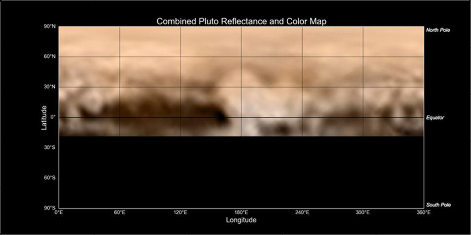 De landkaart van Pluto, die een paar dagen geleden is uitgebracht. Ook hier is de donkere regio 'de walvis' waar te nemen.