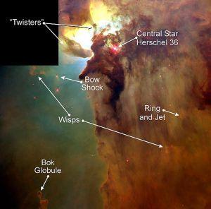 De tornado's zijn een half lichtjaar lang. Afbeelding: A. Caulet (ST-ECF / ESA) / NASA.