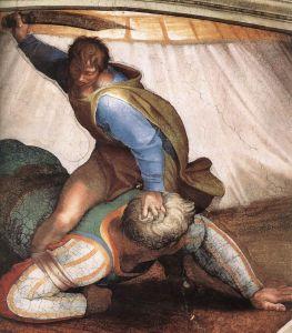 David verslaat Goliath. Deze schildering is gemaakt door Michelangelo en te vinden in de Sixtijnse Kapel.