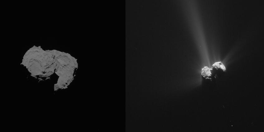 De komeet op 6 augustus 2014 (links) en op  6 augustus 2015 (rechts). Afbeelding: ESA / Rosetta / NavCam.