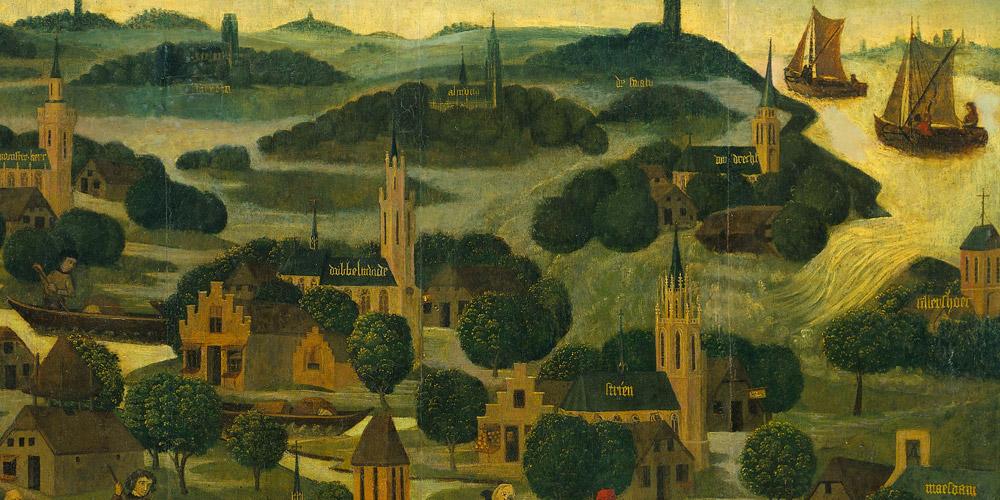 Overstromingsrampen zoals deze op SintElisabethsdag in 1421 wilde Scorel helpen voorkomen in zijn geboortestreek. Dit past in het Renaissance– ideaal van de kunstenaar die zich van ambachtsman opwerkt tot een hogere status: die van weldoener en uitvoerder van maatschappelijke projecten. Rijksmuseum Amsterdam, detail.