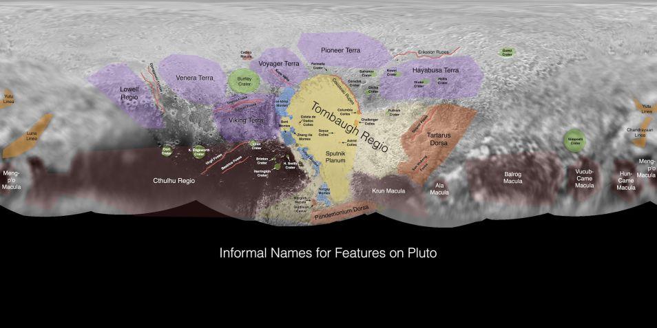 Geologische kenmerken en hun namen op Pluto. Klik voor een vergroting. Afbeelding: NASA / Johns Hopkins University Applied Physics Laboratory / Southwest Research Institute.