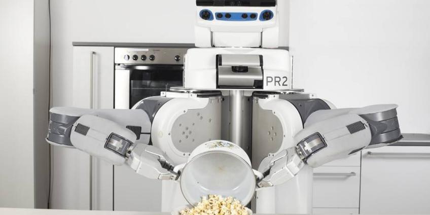 robot pr2 aan het werk in de keuken